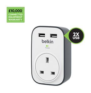 Belkin SurgeCube 1 位防雷保護器連 2 個 2.4A USB 共用充電端口