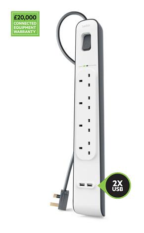 Belkin 2.4 安培 USB充電 4位防雷保護拖板